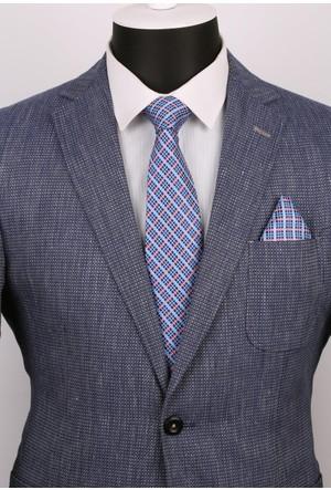 La Pescara Mavi Ekoseli Mendilli Klasik Kravat 2484