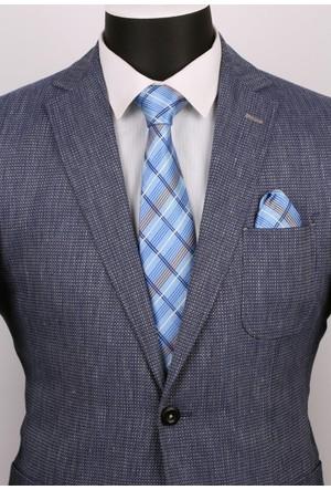 La Pescara Mavi Ekoseli Mendilli Klasik Kravat 2510