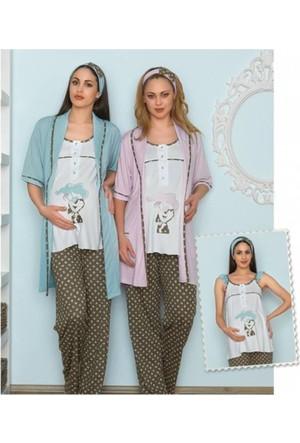 Baha Loğusa Hamile Pamuklu 3'Lü Pijama Takım 2535 - Lila