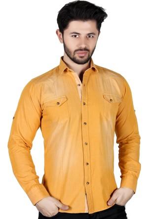 Brango 12498-10 Dar Kesim Düz Çift Cepli Sarı Gömlek