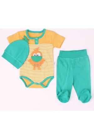 Minisse Erkek Bebek Badi Ve Patikli Pantolon Penye Takım Sarı 3-6 Ay