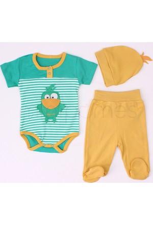 Minisse Erkek Bebek Badi Ve Patikli Pantolon Penye Takım Yeşil 0-3 Ay