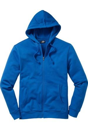 bonprix Mavi Kapüşonlu Sweat Ceket 34-54 Beden
