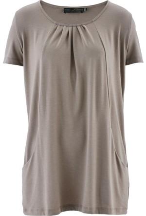 bonprix Kahverengi Yakası Pilili Cepli Bluz 34-54 Beden