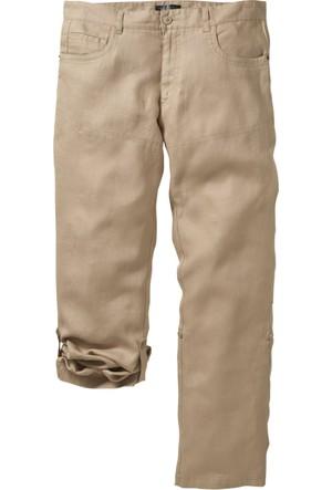 bonprix Bej Keten Pantolon K+İ-Beden 34-54 Beden