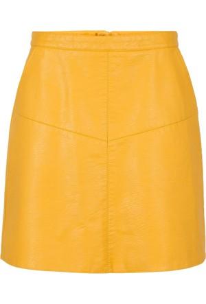Bodyflirt Sarı Suni Deri Etek