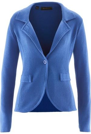 Bpc Selection Kadın Mavi Triko Blazer Ceket
