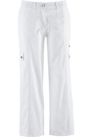 bonprix 7/8 Paça Paper Touch Pantolon Geniş Kesim Beyaz