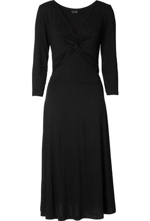 Bonprix Bodyflirt 3/4 Kollu Penye Elbise Siyah