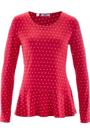 Bpc Bonprix Collection Kadın Kırmızı Uzun Kollu Peplum T-Shirt