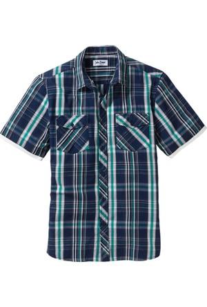 John Baner Jeanswear Mavi Ekose Desenli Gömlek