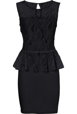 Bodyflirt Siyah Üst Kısmı Dantelli Elbise 34-54 Beden