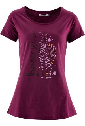 Bpc Bonprix Collection - Lila Baskılı Kısa Kollu Tişört