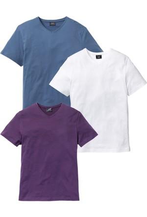 Bpc Bonprix Collection Erkek Lila V Yaka Tshirt Paketi