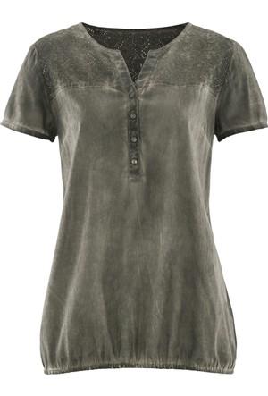 Bpc Bonprix Collection Yeşil Yarım Kollu Batik Desenli Ve Dantelli Bluz 34-54 Beden