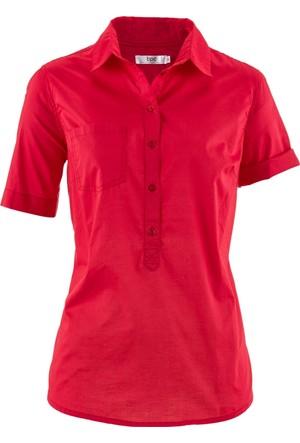 Bpc Bonprix Collection - Kırmızı Düğmeli Ve Cepli Bluz