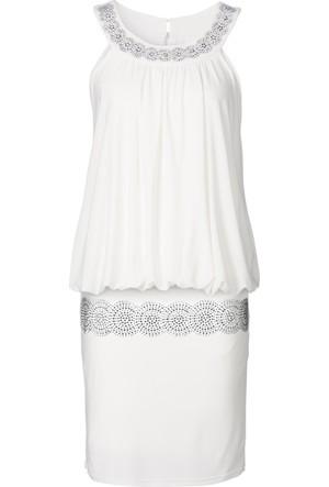 Bodyflirt Beyaz Kokteyl Elbisesi 34-54 Beden