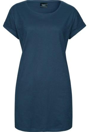 Bpc Bonprix Collection Kadın Mavi Yuvarlak Yaka T-Shirt