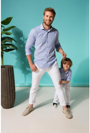 DeFacto Erkek Paco Slim Fit Kemerli Chino Pantolon Beyaz