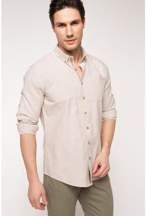 DeFacto Erkek Modern Fit Keten Karışım Gömlek Bej