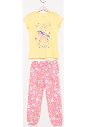 DeFacto Kız Çocuk Baskılı Pijama Takımı Sarı