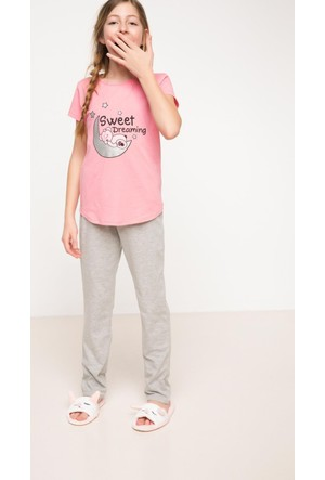 DeFacto Kız Çocuk Baskılı Pijama Takımı Gri