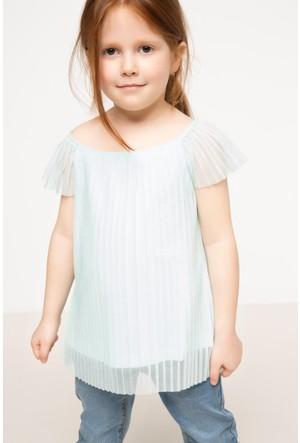 DeFacto Kız Çocuk Plise Tül Bluz Turkuaz