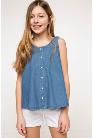 DeFacto Kız Çocuk Bluz Mavi