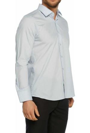 Aln Açık Mavi Slim Fit Düz Renk Uzun Kol Erkek Gömlek - 951-3