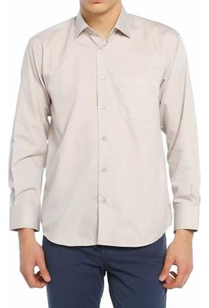 Aln Bej Klasik Kesim Düz Renk Uzun Kol Erkek Gömlek - 950-11