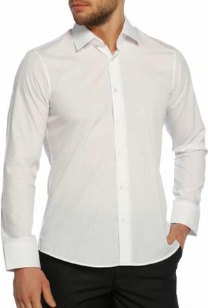 Aln Beyaz Slim Fit Düz Renk Uzun Kol Erkek Gömlek - 951-1