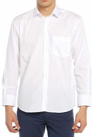 Aln Beyaz Klasik Kesim Düz Renk Uzun Kol Erkek Gömlek - 950-1