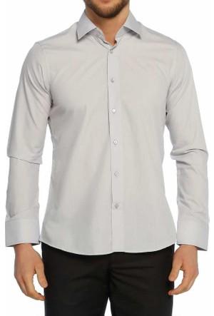 Aln Gri Slim Fit Düz Renk Uzun Kol Erkek Gömlek - 951-2