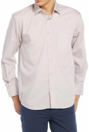 Aln Gri Klasik Kesim Düz Renk Uzun Kol Erkek Gömlek - 950-2