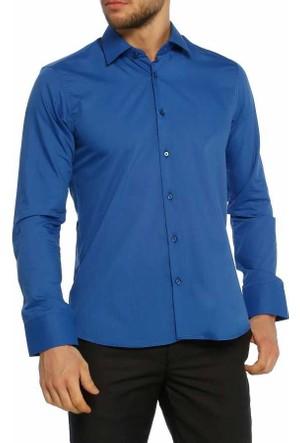 Aln Saks Slim Fit Düz Renk Uzun Kol Erkek Gömlek - 951-28