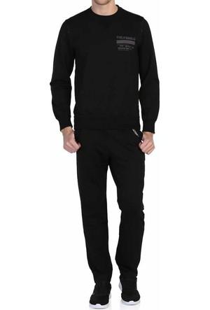 Axxel Siyah Sıfır Yaka Likralı Süprem Penye Erkek Eşofman Takım- Axxel-1002-Siyah