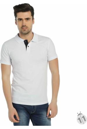 Baruğ Beyaz Büyük Beden Polo Yaka Basic Erkek Lakos Tişört -Slim Fit-42113-Beyaz