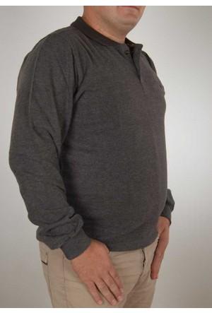 Baruğ Büyük Beden Polo Yaka Erkek Sweatshirt (Xl-4Xl) - 41441-Kahve
