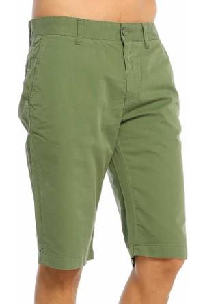 Baruğ Düz Renk Erkek Kargo Keten Kapri - Wilson-Yeşil