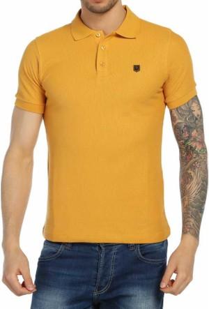 Baruğ Petekli Desen Polo Yaka Erkek Tişört-T-Shirt - Düz Renk-Slim Fit- 42406-Sarı