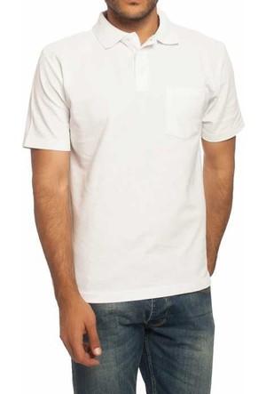 Baruğ Polo Yaka Düz Renk Klasik Erkek T-Shirt - T130-Beyaz
