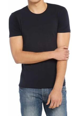 Baruğ Sıfır Yaka Düz Renk Likralı Basic Erkek Tişört-T-Shirt 40506-Lacivert