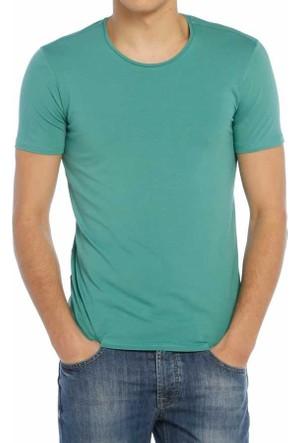Baruğ Sıfır Yaka Düz Renk Likralı Basic Erkek Tişört-T-Shirt 40506-Mintuaz