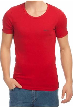 Baruğ Sıfır Yaka Düz Renk Basic Erkek Tshirt -38570-Bordo