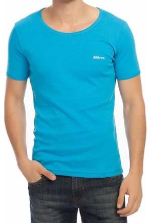 Baruğ Sıfır Yaka Düz Renk Basic Erkek Tshirt -38570-Turkuaz