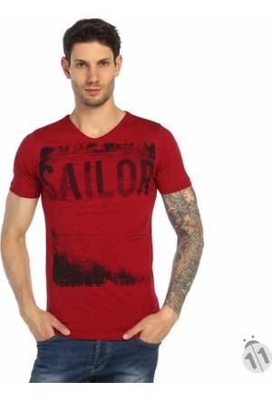 Baruğ V Yaka Baskılı Likralı Erkek Penye Tişört - 42116-Bordo