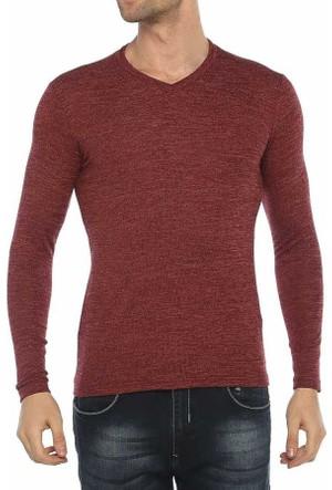 Baruğ V Yaka Likralı Mevsimlik Erkek Sweatshirt - Japon Style- 41508-Bordo