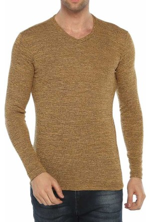 Baruğ V Yaka Likralı Mevsimlik Erkek Sweatshirt - Japon Style- 41508-Sarı