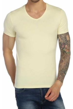 Baruğ V Yaka Düz Renk Likralı Basic Erkek Tişört-T-Shirt - 40505-Sarı