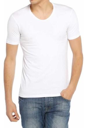 Baruğ V Yaka Düz Renk Likralı Basic Erkek Tişört-T-Shirt 40505-Beyaz